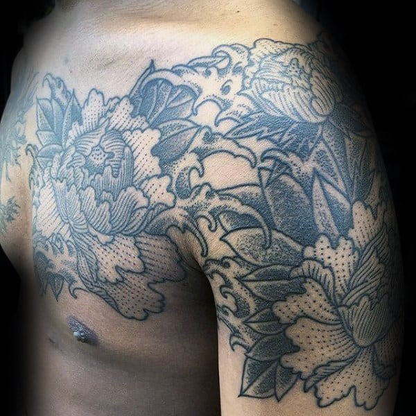 Dotwork Guys Peony Chest And Arm Tattoos