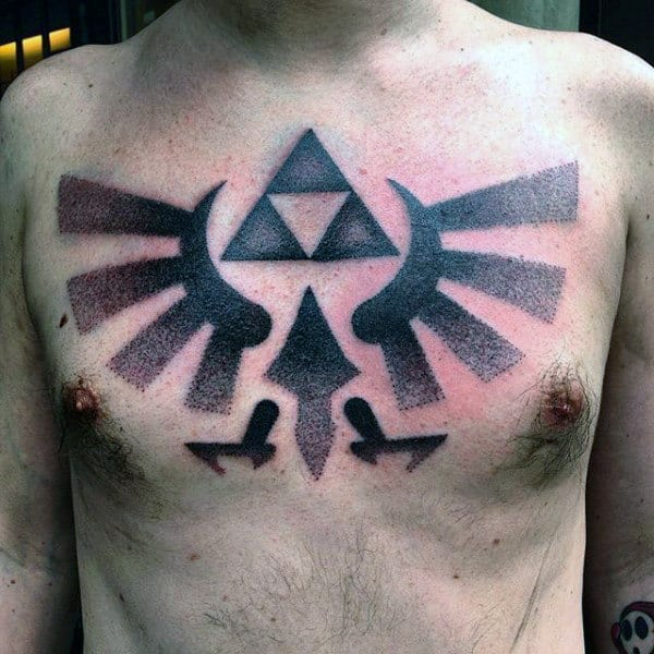 Dotwork Guys Triforce Chest Tattoo Designs With Black Ink