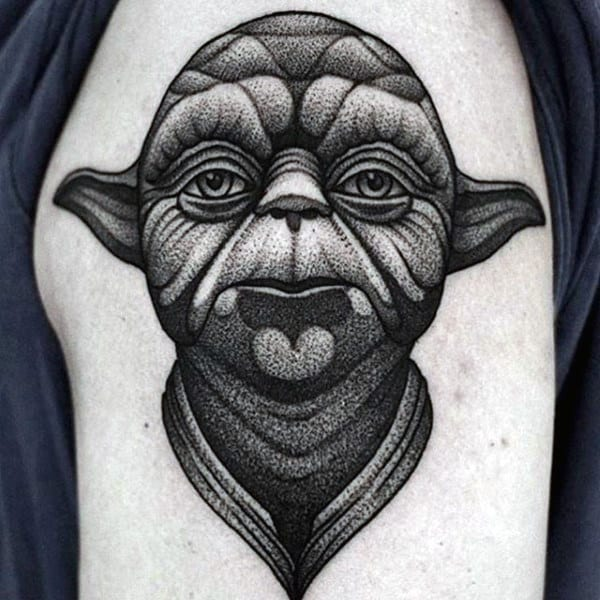Dotwork Guys Yoda Upper Arm Shaded Black And Grey Ink Tattoo Design Ideas