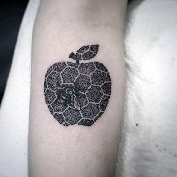 Dotwork Hexagon Mens Small Apple Forearm Tattoo Inspiration