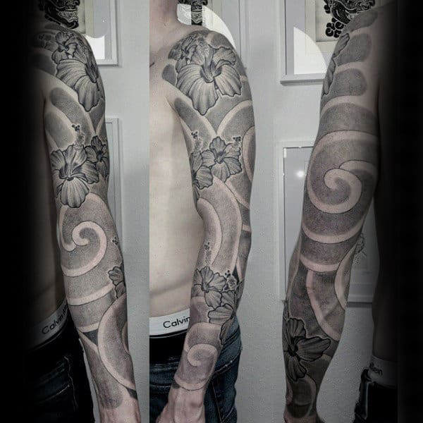 Dotwork Hibiscus Flower Mens Full Sleeve Tattoo