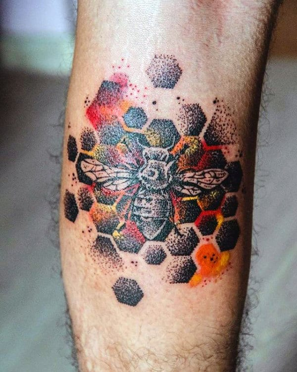 Dotwork Honeycomb Male Bee Tattoos