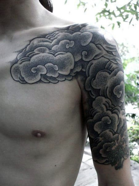 Dotwork Japanese Clouds Mens Half Sleeve And Chest Tattoos