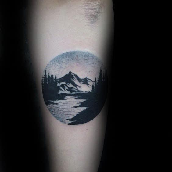 Dotwork Landscape Nature Tattoo Inspiration For Men