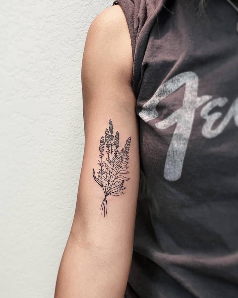 Dotwork Lavander Tattoo