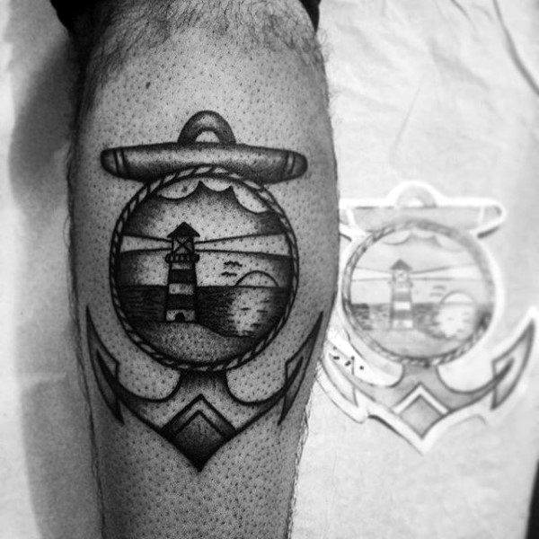 Dotwork Lighthouse Traditional Anchor Mens Tattoo On Leg Calf
