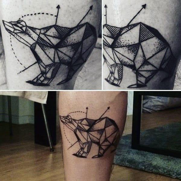 Dotwork Male Geometric Bear Tattoo On Inner Forearm