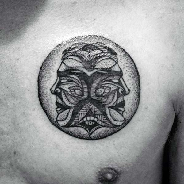 Dotwork Mens Castor And Pollux Twins Gemini Chest Tattoo