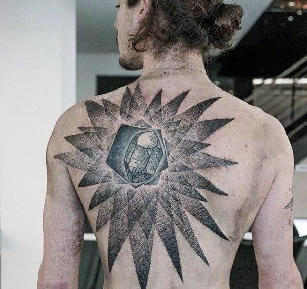 Dotwork Mens Crystal Back Tattoo Designs