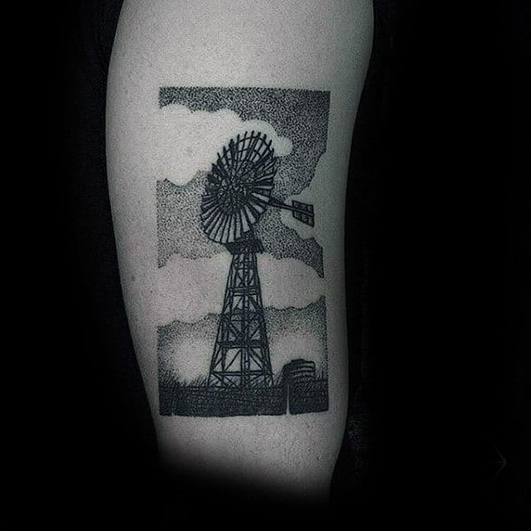 Dotwork Mens Farm Windmill Arm Bicep Tattoo