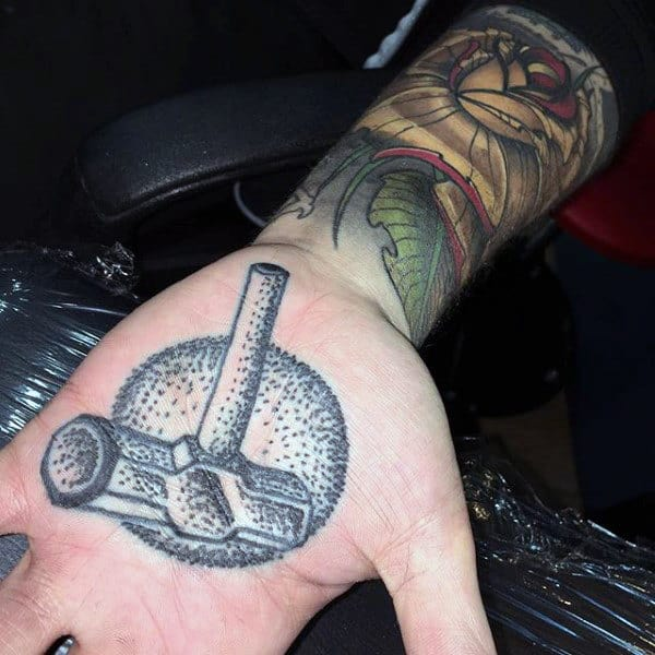Dotwork Mens Hammer Palm Tattoo