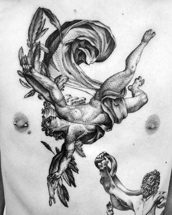 Dotwork Mens Icarus Chest Tattoos