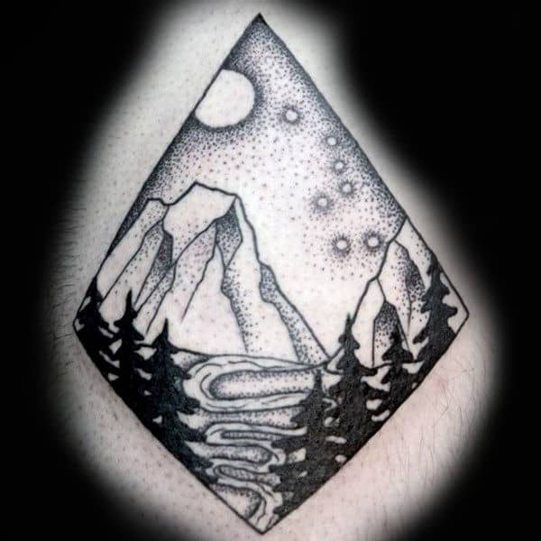 Dotwork Mens Nature Sky Scene Of Big Dipper Constellation Tattoo On Man