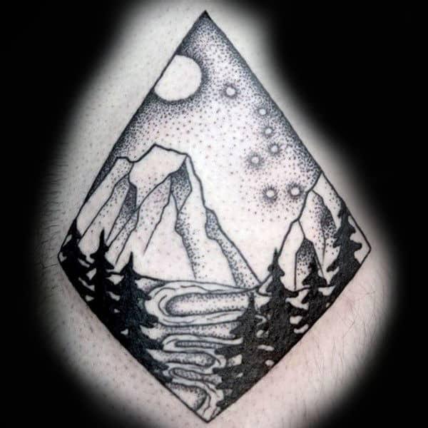 Dotwork Mens Nature Sky Scene Of Big Dipper Constellation Tattoo On Man