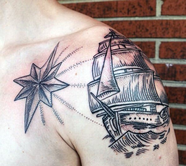 Dotwork Mens Nautical Star With Sailing Ship Arm And Chest Tattoo
