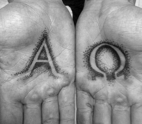 Dotwork Mens Palm Alpha Omega Tattoo Design Ideas