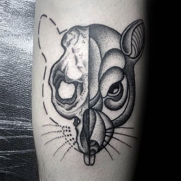 Dotwork Mens Rat Tattoo On Arm