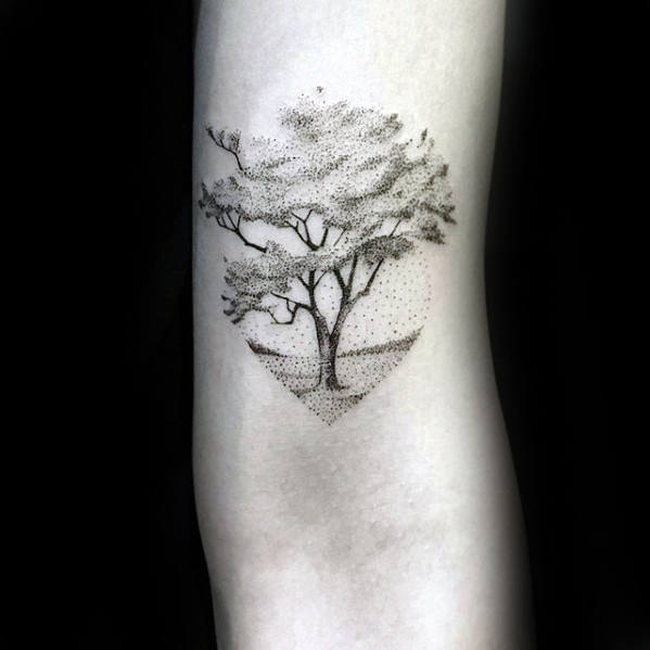 Dotwork Mens Small Inner Arm Tree Tattoo Inspiration