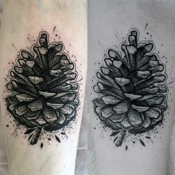 Dotwork Mens Small Pine Cone Forearm Tattoo