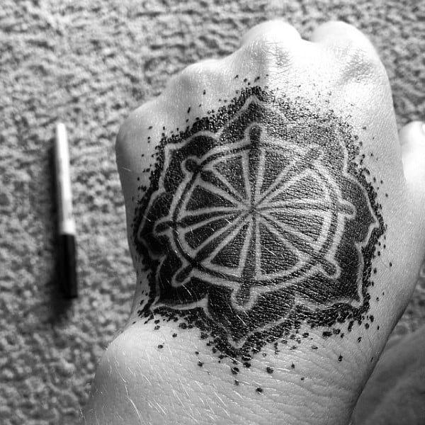Dotwork Negative Space Dharma Wheel Hand Tattoo For Men