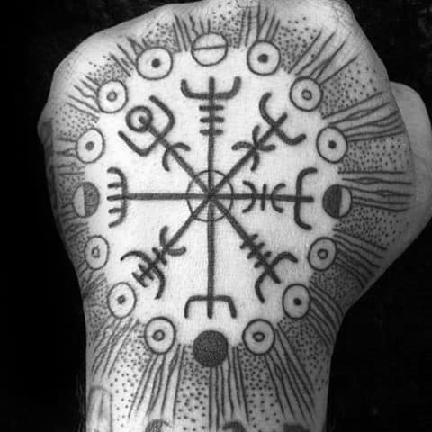Dotwork Negative Space Male Viking Compass Hand Tattoo Designs