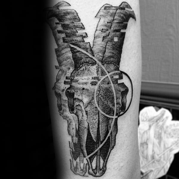 Dotwork Negative Space Shapes Goat Skull Male Leg Tattoo Ideas