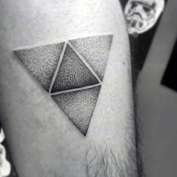 Dotwork Negative Space Triforce Tattos For Males On Arm