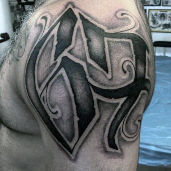 Dotwork Numbers 67 Mens Shoulder Tattoo
