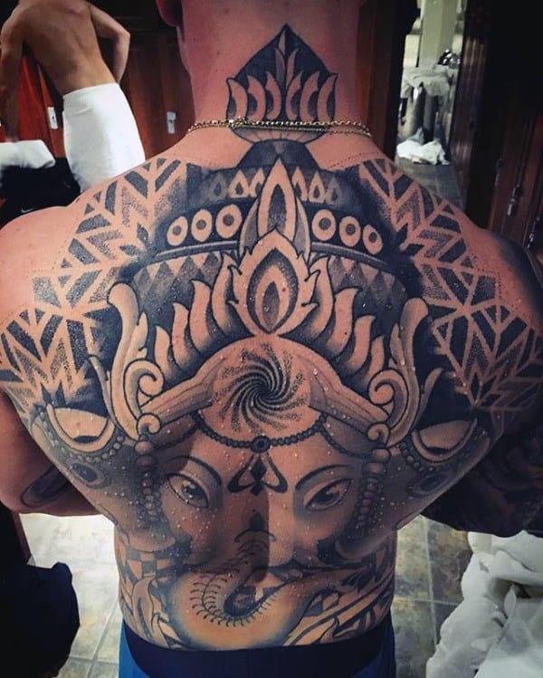 Dotwork Pattern Male Ganesh Full Back Tattoo Designs