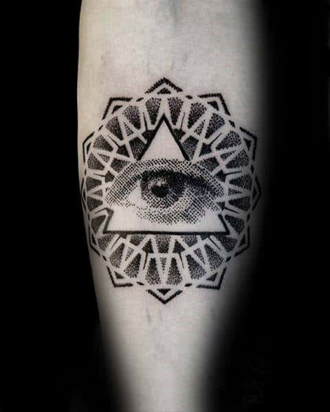 Dotwork Pattern Mens Eye Of Providence Geometric Tattoo Design On Forearm
