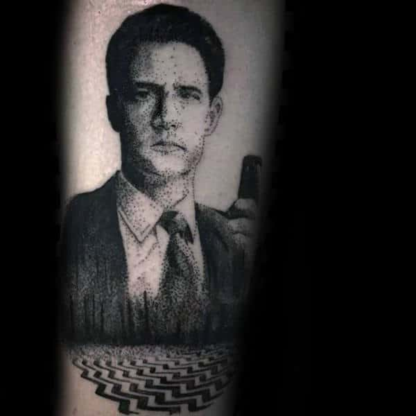 Dotwork Portrait Twin Peaks Male Forearm Tattoos