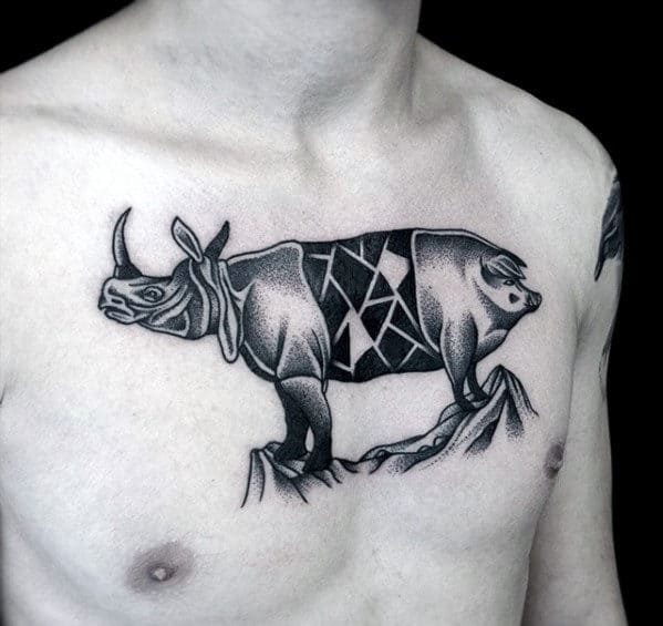 Dotwork Rhino Pig Guys Unusual Upper Chest Tattoo