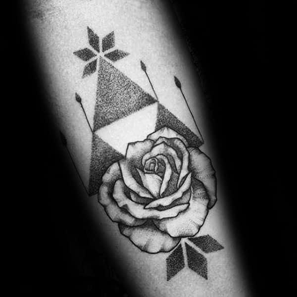 Dotwork Rose Flower Guys Geometric Triforce Symbol Tattoos On Inner Forearm
