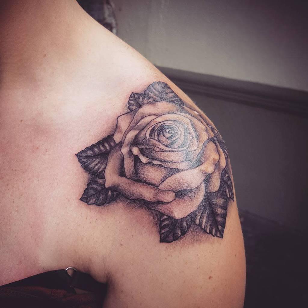 dotwork rose shoulder tattoos ahtattoos