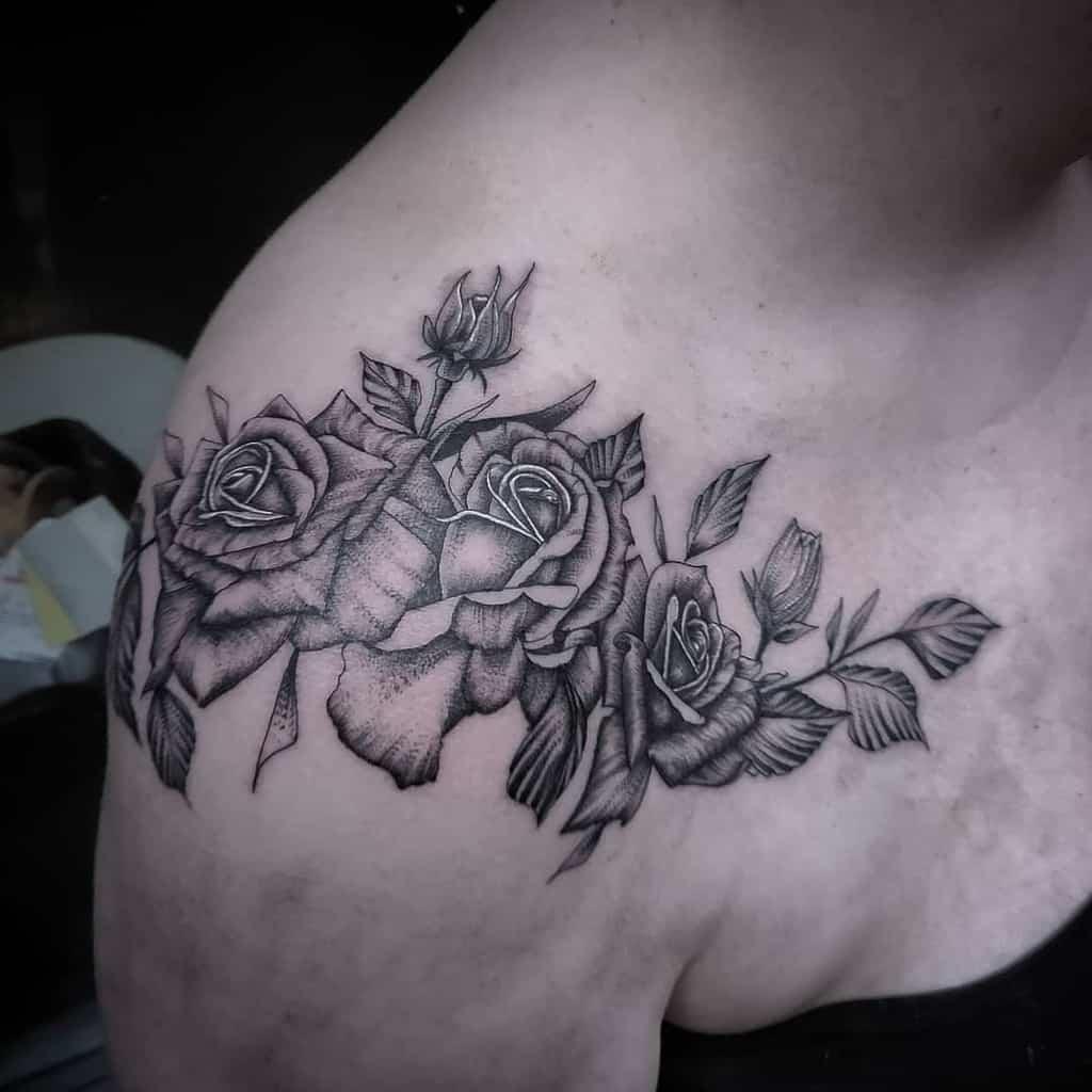 dotwork rose shoulder tattoos albonoir