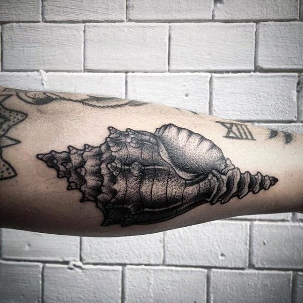 Dotwork Seashell Mens Outer Forearm Tattoos