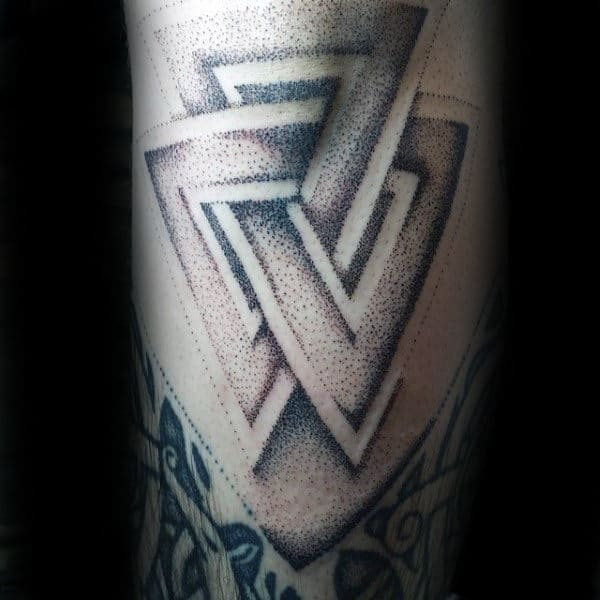 Dotwork Shaded Male Negative Space Valknut Arm Tattoos