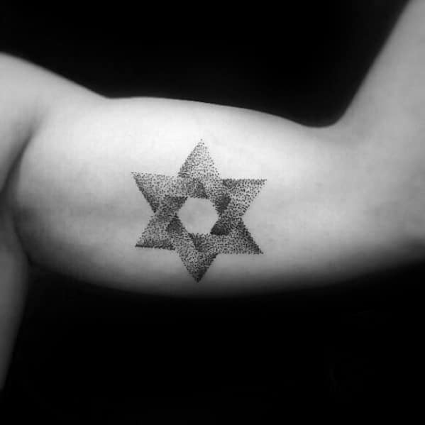 Dotwork Simple Star Mens Inner Arm Bicep Tattoos With 3d Design