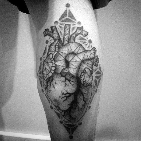 Dotwork Tree Roots Geometric Heart Mens Leg Calf Tattoos