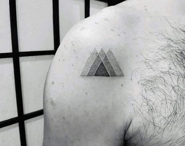 Dotwork Triangles Geometric Shoulder Male Quarter Sized Tattoo Designs