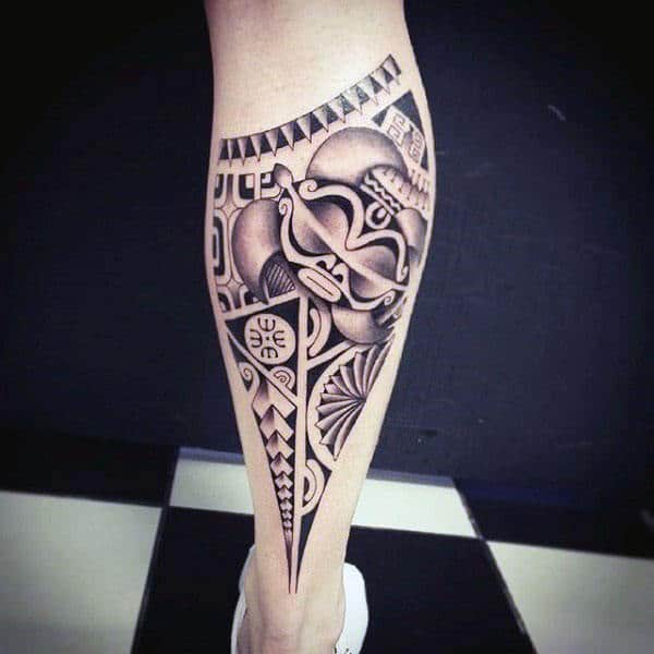 Dotwork Tribal Male Leg Tattoo On Calf