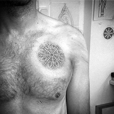 Dotwork Upper Chest Artistic Male Helm Of Awe Tattoo Ideas