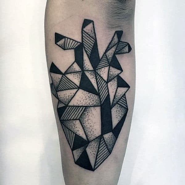Dotwork With Black Ink Lines Guys Geometric Heart Outer Forearm Tattoo