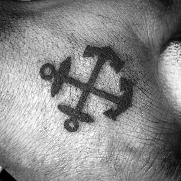 Double Anchor Cross Mens Small Hand Tattoos