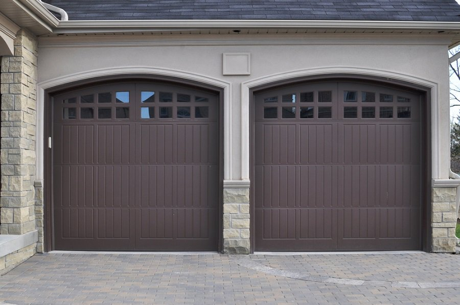 Cool Garage Door Wood With White House Brick Siding
