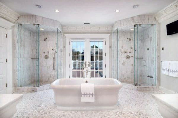 Double Cool Showers Ideas With Marble Tiling