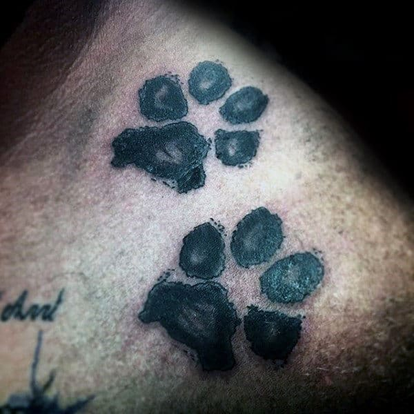 Double Dog Paw Guys Shoulder Tattoo Design Ideas