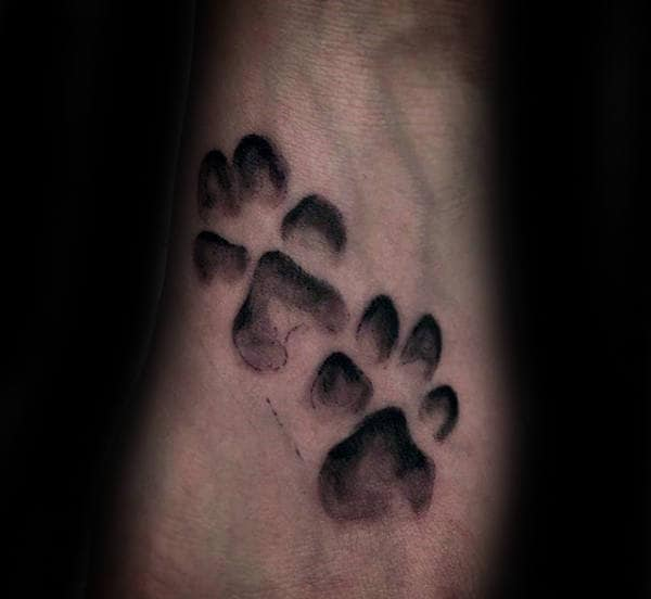 Double Dog Paws Mens Wrist Tattoos