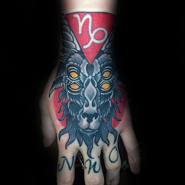 Double Eyed Goat Mens Capricorn Symbol Hand Tattoos