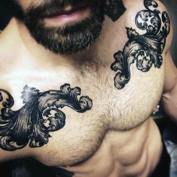 Double Filigree Mens Upper Chest Tattoos